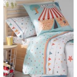 Sabanas azules para cama infantil CIRCUS estrellas coloridas y banderines
