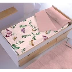 Saco nordico rosa MARIPOSAS para cama 70x160, 90 o 105 cm