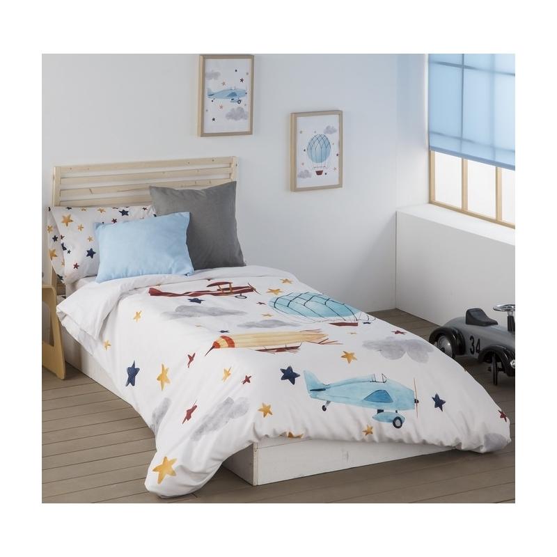 Funda nordica cama infantil juvenil 135, 105 o 90 AVIONES con estrellas