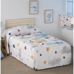 Edredon nordico infantil para niños AVIONES y estrellas algodon 100