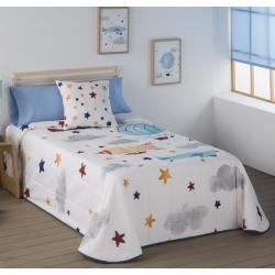 Colcha bouti infantil o juvenil AVIONES con estrellas para cama 105 o 90