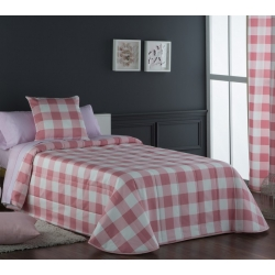 Colcha para cama de 105 o 90 cm VICHY cuadros rosa