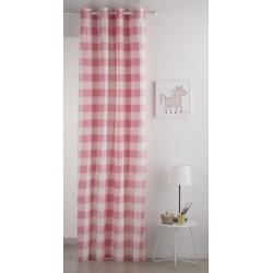 Cortinas para dormitorios juveniles VICHY cuadros rosa con ojales
