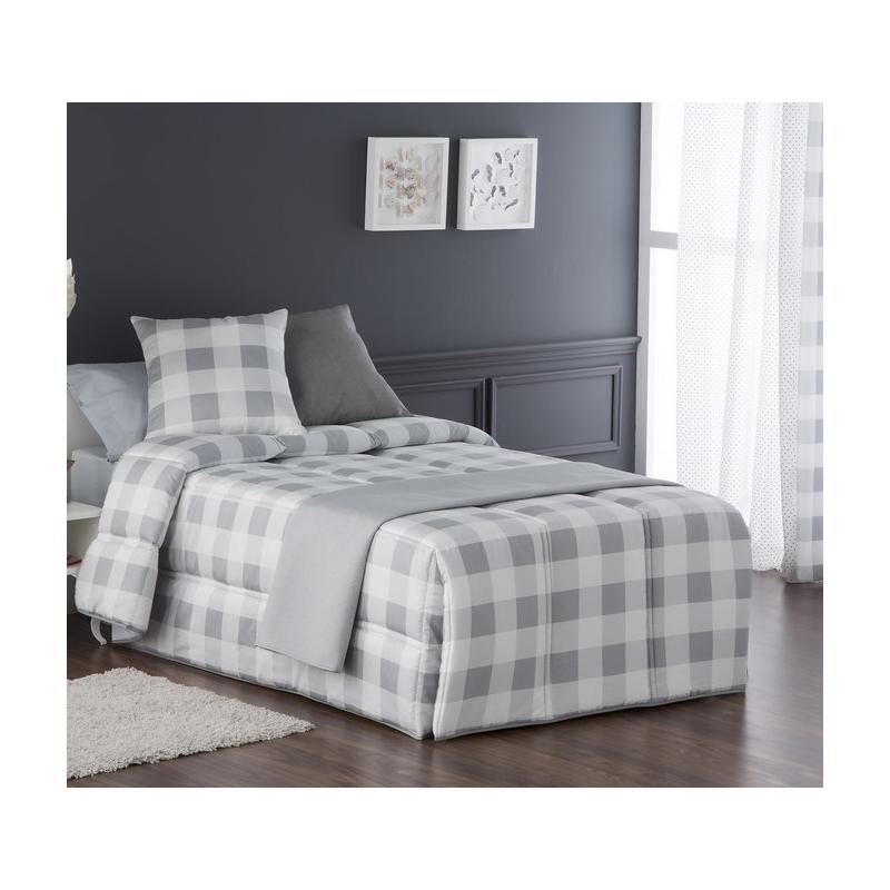 Edredón conforter de cuadros VICHY gris cama 90 o 105 cm