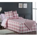 Edredón conforter de cuadros VICHY rosa cama 90 o 105 cm