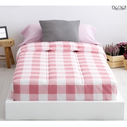 Edredones ajustables juveniles originales VICHY cuadrados rosa