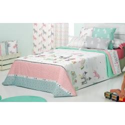 Funda nórdica cama de niña FANTASY color rosa, verde y turquesa