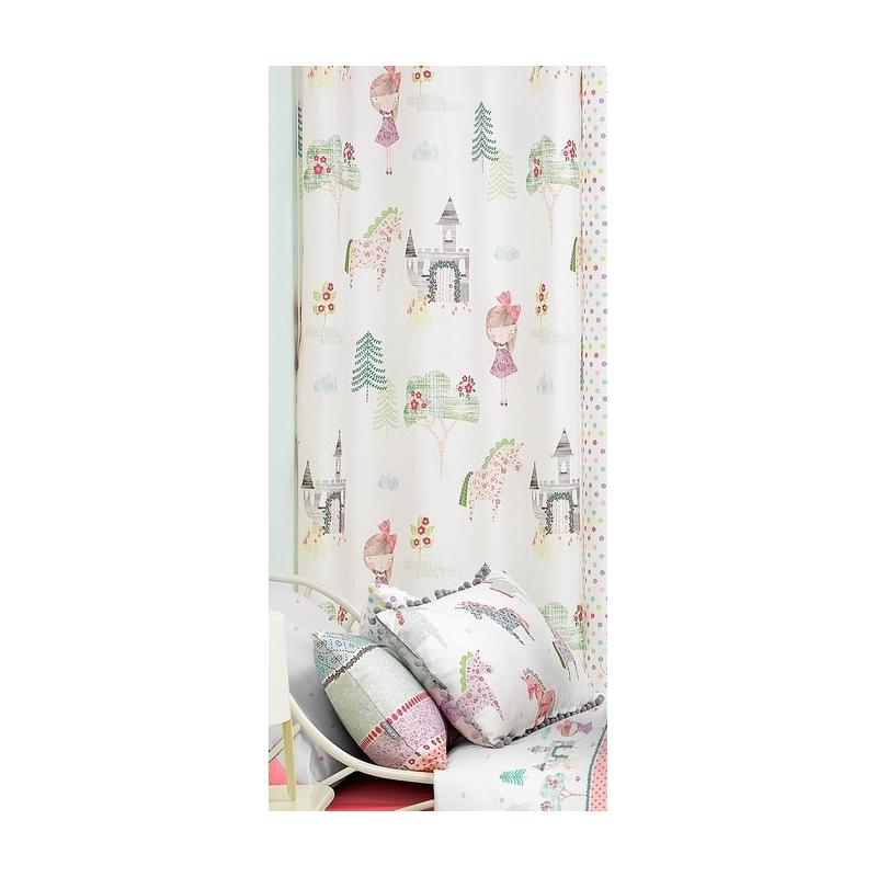 Cortinas para niñas con castillos FANTASY B medida larga de 270x140 cm