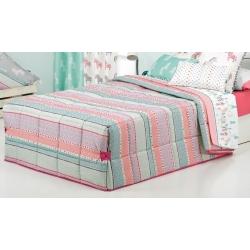 Edredón nórdico para cama infantil FANTASY STRIPE rayas rosa, lila, turquesa y beige
