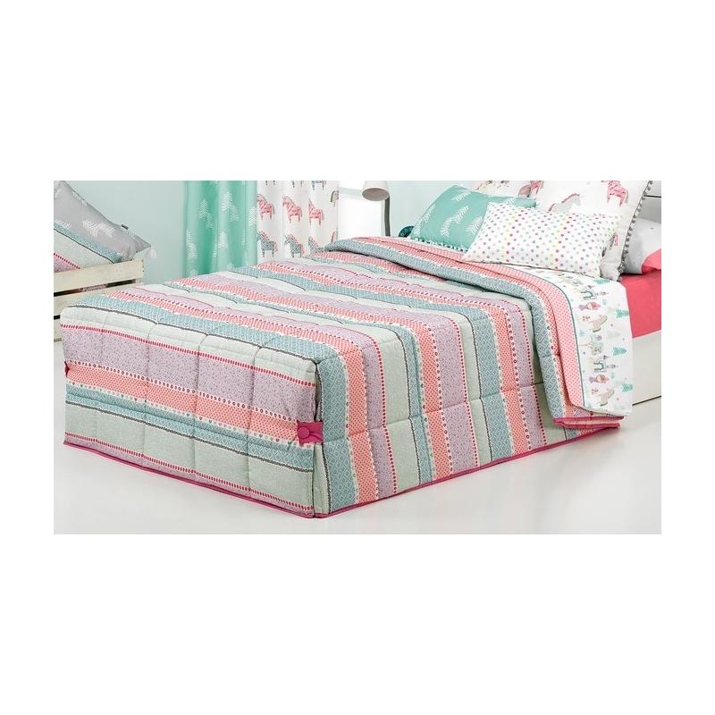 Edredón nórdico para cama infantil STRIPE rayas rosa, lila, turquesa y beige