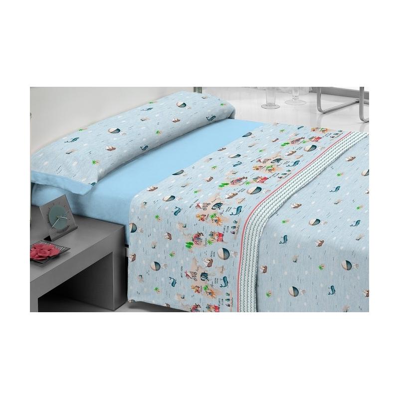 Juego de sábanas azules para niños MONDO dibujo ballenas, barcos y globos