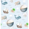 Detalle tejido MONDO C con ballenas, focas, globos, islas y barcos