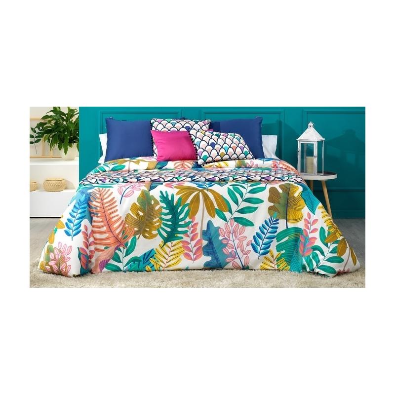 Funda nórdica cama grande o pequeña JUNGLE hojas verdes, rosas, mostaza