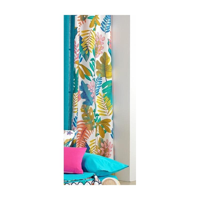 Cortinas largas de 270x140 cm JUNGLE con hojas coloridas