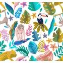Tejido BOSCO con tucanes, guepardos y monos