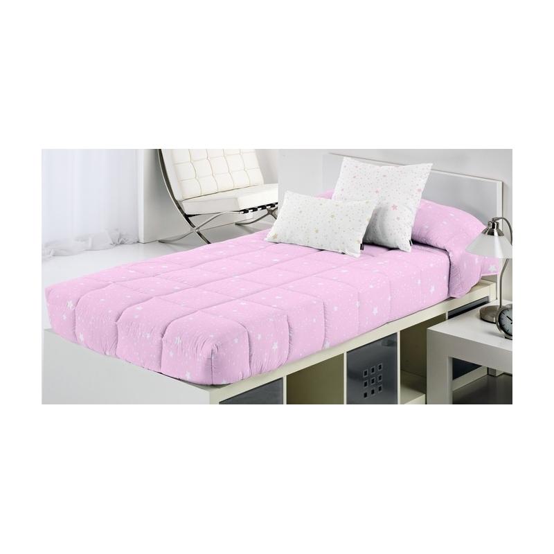 Edredon ajustable con estrellas para cama nido, abatible KALO rosa