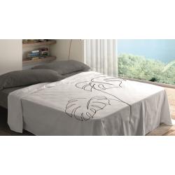 Sábanas de algodón para cama 180, 150, 135, 105 o 90 BLANCA con hojas de palmera