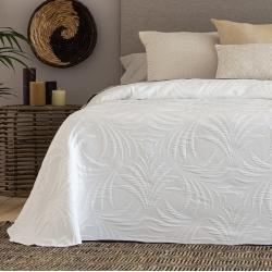Colcha de verano blanca, gris o coral LIBIA para cama 180 a 90 cm