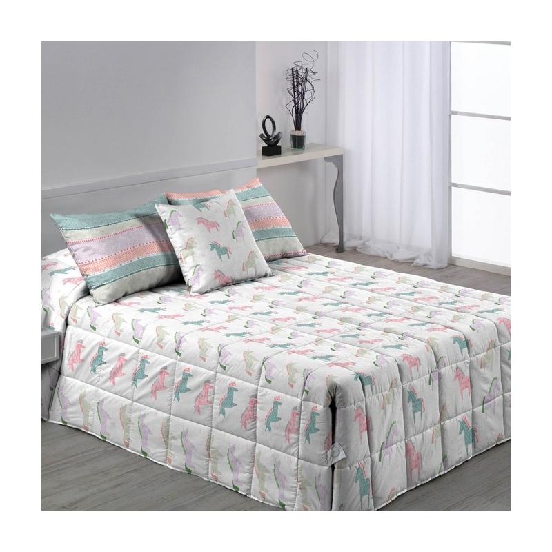 Edredón abotonado para cama 80, 90 o 105 UNICORN estampado de unicornios