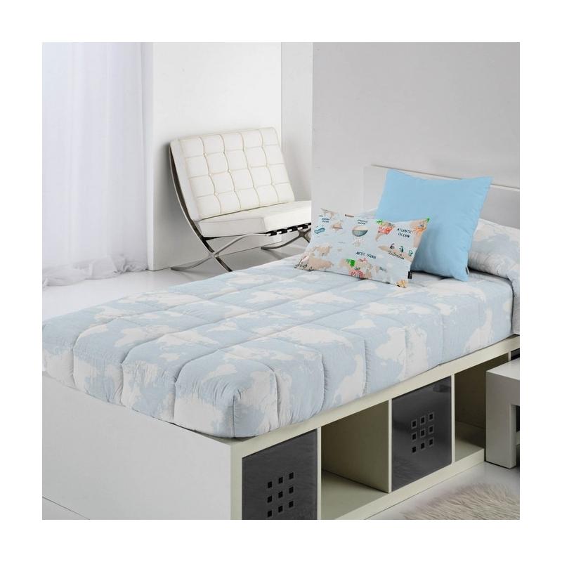 Edredón ajustable para nido, litera o cama abatible MONDO D con mapamundi