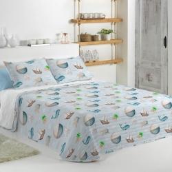 Colcha confortino para cama de niños MONDO C ballenas y barcos