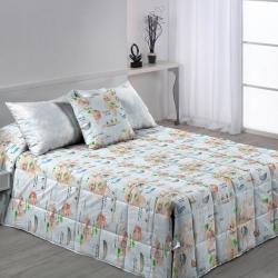 Edredón con botones para cama infantil MONDO B animales con mapamundi
