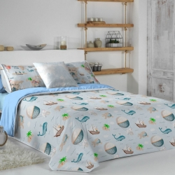 Funda nórdica azul para niños MONDO C con dibujo de ballenas