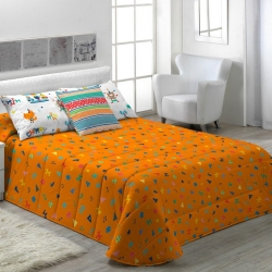 Edredón calentito de invierno CIRCUS C color naranja con figuritas