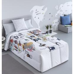 Edredón confort infantil de algodón ECO estampado animales del mundo