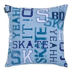 Funda para almohada de 50x50 sin relleno SKATE estampado letras azules