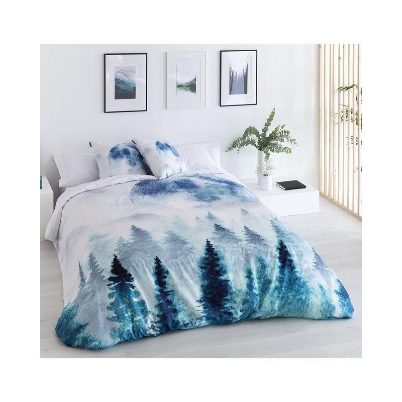 Funda nórdica juvenil de algodón OLOT dibujo de pinos en invierno