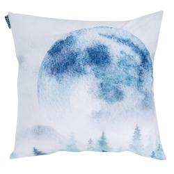 Funda de cojín de 50 cm OLOT imagen de luna llena en color azul