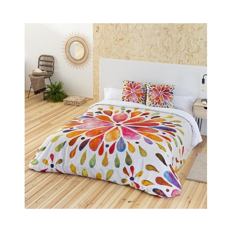 Funda nórdica con flor de pétalos coloridos INCA para cama grande o individual