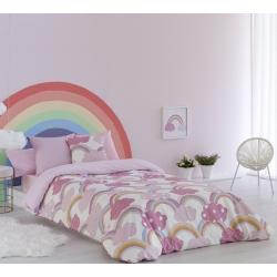 Funda nórdica de nubes rosa IRIS con relleno grueso y sábana bajera
