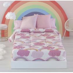 Edredón ajustable cama nido, abatible o litera IRIS con nubes color rosa