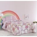 Colcha boutí para cama de niñas IRIS y nubes en color rosa