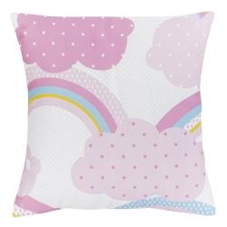 Almohada cuadrada con relleno de 40 cm IRIS y nubes color rosa