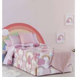 Edredón nórdico infantil de invierno rosa IRIS y nubes para cama de niña