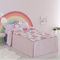 Colcha edredón con volantes en rosa IRIS y nubes para cama infantil