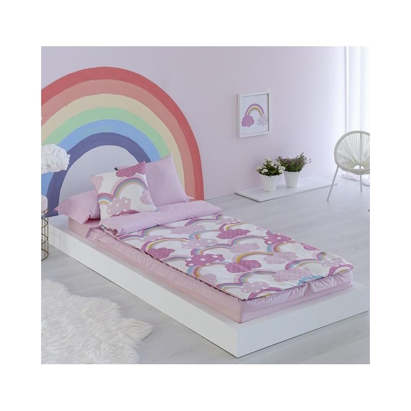 Saco nórdico rosa IRIS y nubes para cama 90x190 o 90x200 cm