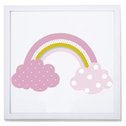 Cuadro digital infantil IRIS con dibujo de nubes en color rosa