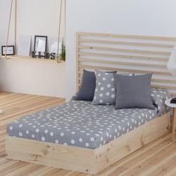 Edredón ajustable para literas, cama nido o abatible TOPO con lunares gris