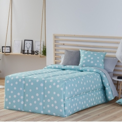 Edredón con lunares para cama 90 o 105 TOPO color turquesa, rosa o gris