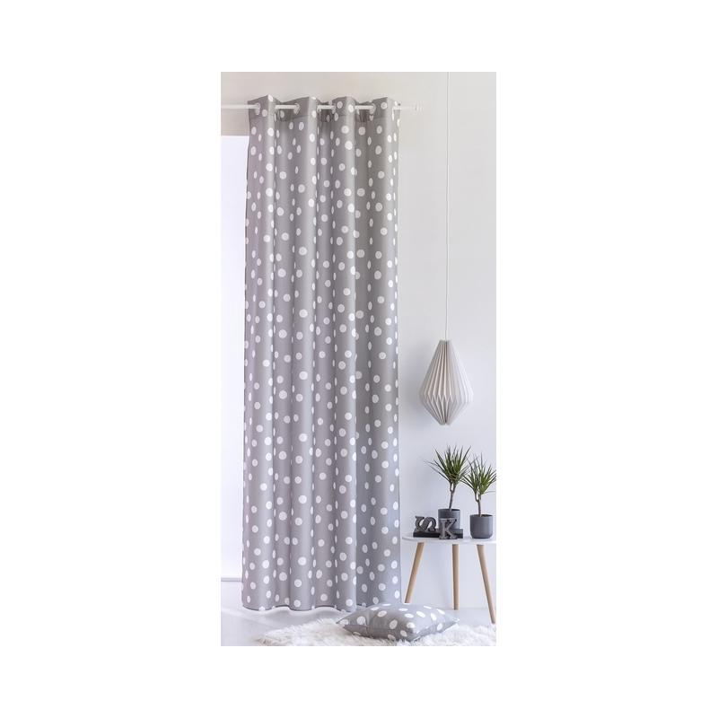 Cortinas para dormitorios juveniles TOPO con lunares gris