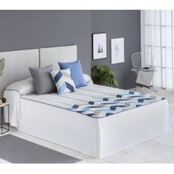 Colcha edredón de 150 gramos con volantes blancos SOLLER zigzag azul, teja o lila