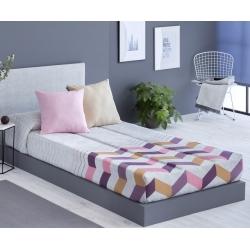 Edredón ajustable juvenil cama de 90 o 105 SOLLER color lila, teja o azul