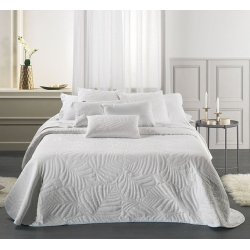 Colcha de verano blanca ISORA fondo con textura hojas de palmera