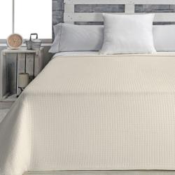 Colcha tipo capa con textura de cuadraditos ADRAS beige, gris, blanco o azul