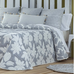 Colcha capa reversible con textura de hojas JEREZ gris o beige