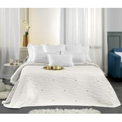 Colcha blanca de verano FAYNA con relieve y topitos color oro o gris